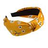 Floral Print Silk Fabric Flex HeadBand/ Head Band in Yellow/ Light Blue/ White