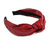 Wide Chunky Crimson Red PU Leather, Faux Leather Knot Hair Band/ HeadBand/ Alice Band