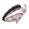 Lilac/ White Checked Fabric Bow Alice/ Hair Band/ HeadBand