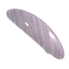 Lavender Stripy Print Acrylic Oval Barrette/ Hair Clip In Silver Tone - 90mm Long