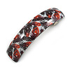 Red/ Black Feather Motif Acrylic Square Barrette/ Hair Clip - 85mm Long