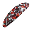 Red/ Black Feather Motif Acrylic Oval Barrette/ Hair Clip - 95mm Long