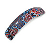 Black/ Pink/ White/ Blue Abstract Print Acrylic Square Barrette/ Hair Clip - 90mm Long