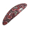 Black/ Red/ Green Abstract Print Acrylic Oval Barrette/ Hair Clip - 95mm Long