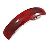 Red/ Burgundy Glitter Acrylic Square Barrette/ Hair Clip In Silver Tone - 90mm Long