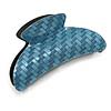 Large Shiny Blue Herringbone Pattern Acrylic Hair Claw/ Hair Clamp - 95mm Across