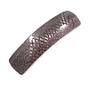 Taupe Snake Print Acrylic Square Barrette/ Hair Clip In Silver Tone - 90mm Long