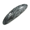 Black/ Metallic Silver Acrylic Oval Barrette/ Hair Clip In Silver Tone - 90mm Long
