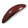 Red/ Black Acrylic Oval Barrette/ Hair Clip In Silver Tone - 90mm Long