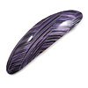 Purple/ Black Acrylic Oval Barrette/ Hair Clip In Silver Tone - 90mm Long