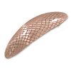 Gold Caramel Snake Print Acrylic Oval Barrette/ Hair Clip In Silver Tone - 90mm Long