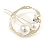 Gold Tone White Glass Pearl Bead Clear Crystal Open Circle Hair Slide/ Grip - 45mm Across