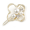 Gold Tone White Glass Pearl Bead Clear Crystal Open Flower Hair Slide/ Grip - 45mm Across