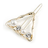 Gold Tone White Glass Pearl Bead Clear Crystal Open Triangular Hair Slide/ Grip - 45mm Across