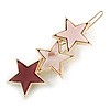 Gold Tone Triple Star Pink Hair Slide/ Grip - 65mm Across