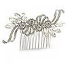 Bridal/ Wedding/ Prom/ Party Silver Tone Clear Crystal Floral Hair Comb - 90mm W