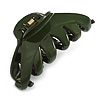 Large Military Green Acrylic Hair Claw - 95mm Across
