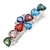 Multicoloured Acrylic Bead Floral Barrette Hair Clip Grip In Silver Tone - 80mm Across