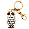 Cute White Enamel Diamante Owl Keyring/ Bag Charm (Burn Gold Plated Metal)