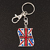 Silver Plated Union Jack Keyring/ Bag Charm - 10cm Length