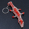 Coral/ Transparent Glass Bead Crocodile Keyring/ Bag Charm - 17cm Length