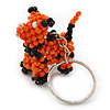 Orange/ Black Glass Bead Scottie Dog Keyring/ Bag Charm - 8cm Length