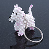 White/ Pink Glass Bead Scottie Dog Keyring/ Bag Charm - 8cm Length