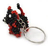 Black/ Red Glass Bead Scottie Dog Keyring/ Bag Charm - 8cm Length