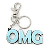 'OMG' Light Blue Plastic Rhodium Plated Keyring/ Bag Charm - 105mm Length