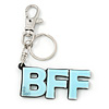 'BFF' Light Blue Plastic Rhodium Plated Keyring/ Bag Charm - 85mm Length
