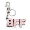 'BFF' Light Pink Plastic Rhodium Plated Keyring/ Bag Charm - 85mm Length