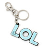 'LOL' Light Blue Plastic Rhodium Plated Keyring/ Bag Charm - 80mm Length