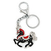 Rhodium Plated Black, Red Enamel, Crystal Horse Keyring/ Bag Charm -10cm Length