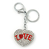 Rhodium Plated Clear Crystal 'Love' Puffed Heart Keyring/ Bag Charm - 85mm Length