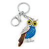 Rhodium Plated Multicoloured Enamel, Crystal Owl Keyring/ Bag Charm -11cm Length