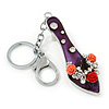 Rhodium Plated Deep Purple Enamel High Heel Shoe With Crystals And Roses Keyring/ Bag Charm - 16cm L