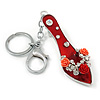 Rhodium Plated Red Enamel High Heel Shoe With Crystals And Roses Keyring/ Bag Charm - 16cm L