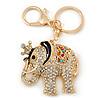 Crystal Queen Elephant Keyring/ Bag Charm In Gold Plating - 11cm L