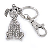 Clear Austrian Crystal Dog Keyring/ Bag Charm In Silver Tone - 11cm L