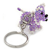 Lavender/ White Glass Bead Scottie Dog Keyring/ Bag Charm - 8cm L