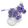 Purple/ Transparent Glass Bead Scottie Dog Keyring/ Bag Charm - 8cm L