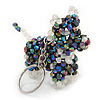 Peacock/ Transparent Glass Bead Scottie Dog Keyring/ Bag Charm - 8cm L