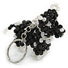 Black/ Transparent Glass Bead Scottie Dog Keyring/ Bag Charm - 8cm L