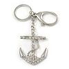 Clear Crystal Anchor Keyring/ Bag Charm In Silver Tone - 14cm L