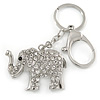 Clear Crystal Elephant Keyring/ Bag Charm In Silver Tone - 13cm L