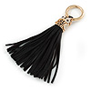 Black Suede Leather Tassel with Gold Tone Crystal Owl Motif Key Ring/ Bag Charm - 17cm L