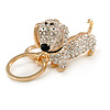 Clear Crystal Badger-Dog Keyring/ Bag Charm In Gold Tone Metal - 7cm L