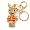 Clear/ Red/ Yellow Crystal Happy Easter Bunny Keyring/ Bag Charm In Gold Tone Metal - 10cm L