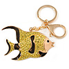 Lemon Yellow Crystal, Brown Enamel Fish Keyring/ Bag Charm In Gold Tone Metal - 8cm L