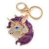 Clear Crystal, Purple Enamel Unicorn Keyring/ Bag Charm In Gold Tone Metal - 10cm L